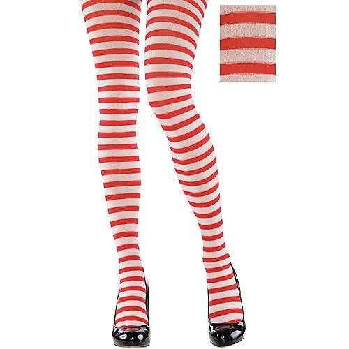 röda och vita horisontella randiga leggings och svarta läderklackar med rundade tår