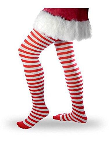 Santa Claus mini-skiftklänning med röda och vita randiga leggings