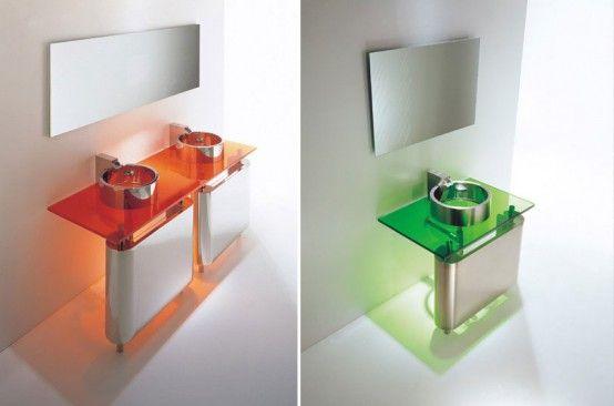 Minimalistisk tvättställ för litet badrum - regn av Axolo    Стекл