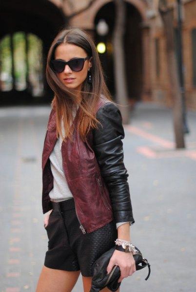 brun läderjacka shorts outfit