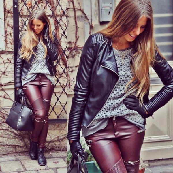 svart läderjacka bruna byxor