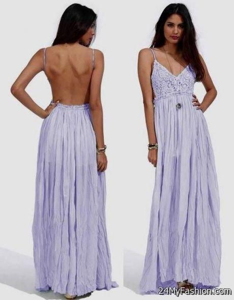 Backless lavendel veckad maxiklänning