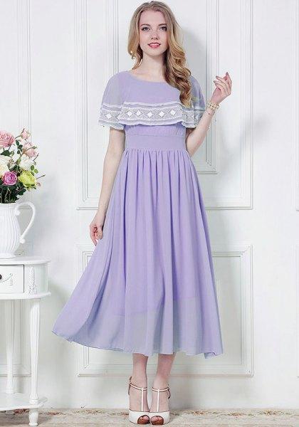 Lavendel och vit mapp en axel Maxi Chiffongklänning