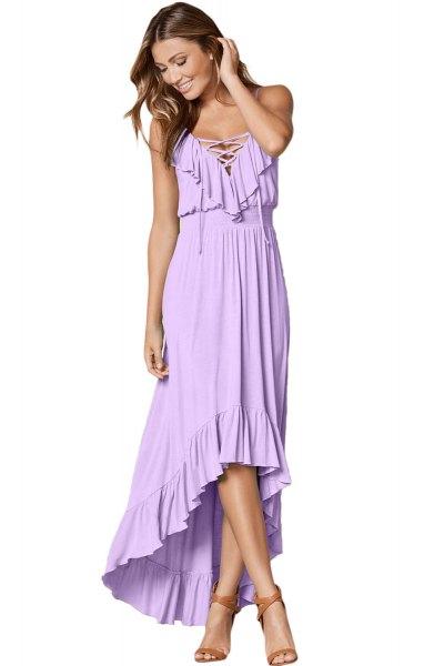 Lavendel Maxi High Low Ruffle Hem Dress