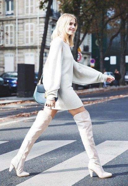 över knä vita läder stövlar tröja klänning