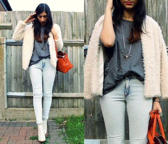 vita läderstövlar nallejacka jeans
