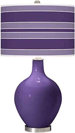 Modern bordslampa Izmir lila glas OVO Bold Stripe Gicleetryck.