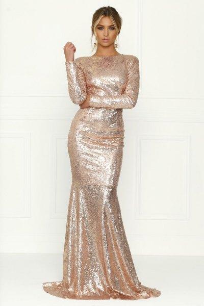 Rose guld paljetter lång aftonklänning