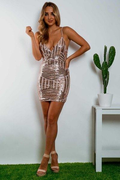 Bodycon-klänning med djup V-ringning i roséguld och vita paljetter