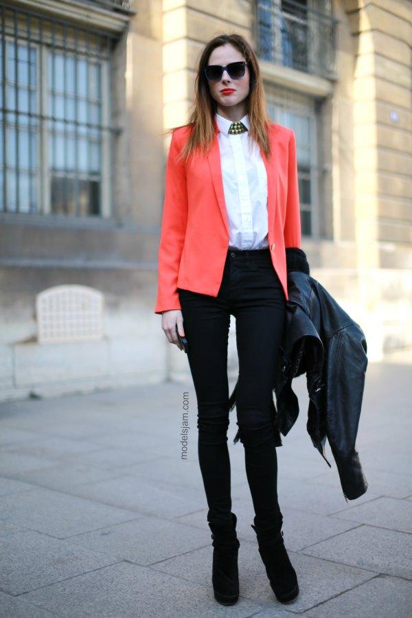 bästa orange kavaj med vit skjorta med knappar och långa skinny jeans