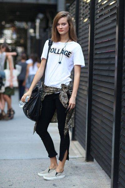 dold vit t-shirt beskuren skinny jeans