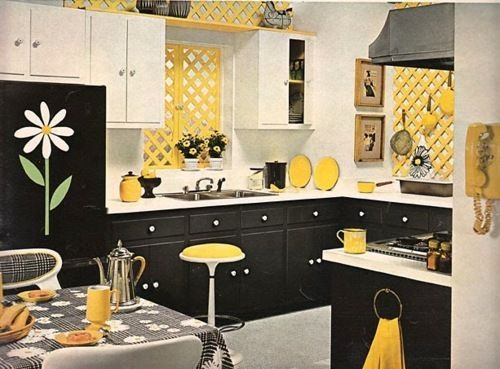 Svart, vitt och gult kök |  Gult kök, köksdekor.