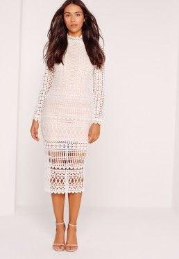 vit midi halvskinn långärmad spetsklänning