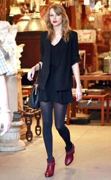 Burgundy Ankle Boots Black Blazer Skater Dress