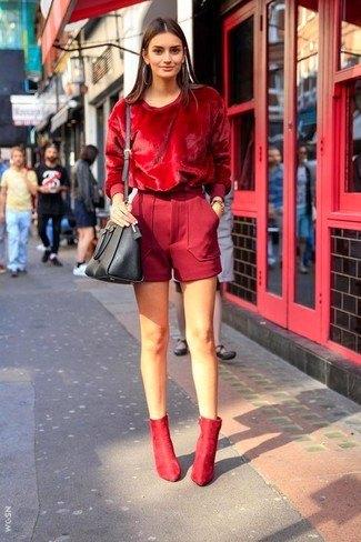 hel röd sammet topp ull shorts
