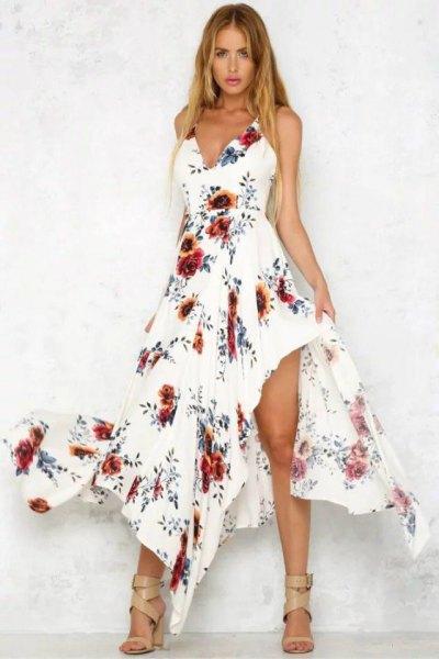 vit asymmetrisk blommig lång klänning
