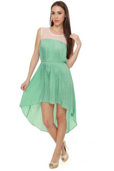 Mintgrön ärmlös, veckad, hög, djup midirundklänning
