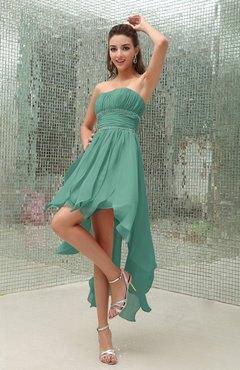Mintgrön axelbandslös passform och flared maxi hög-låg chiffongklänning