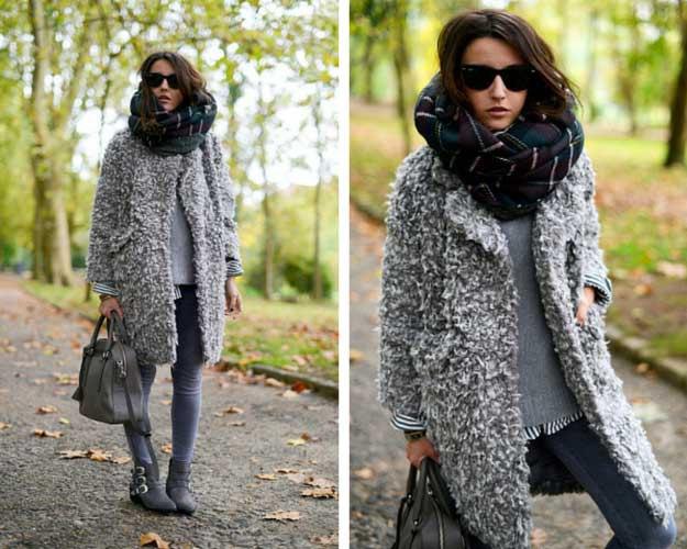 ljunggrå fuzzy pulloverjacka med smala jeans