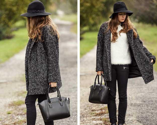 ljunggrå tröja med svart floopy hatt och smala jeans