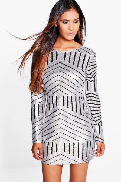 silver skift klänning svarta slumpmässiga ränder
