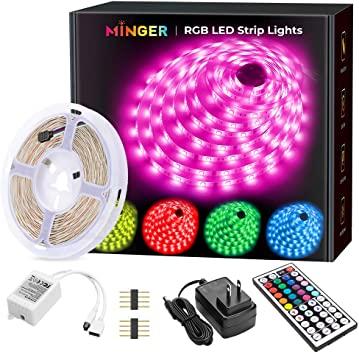 Amazon.com: MINGER LED Strip Lights, 16.4ft RGB LED Light Strip.