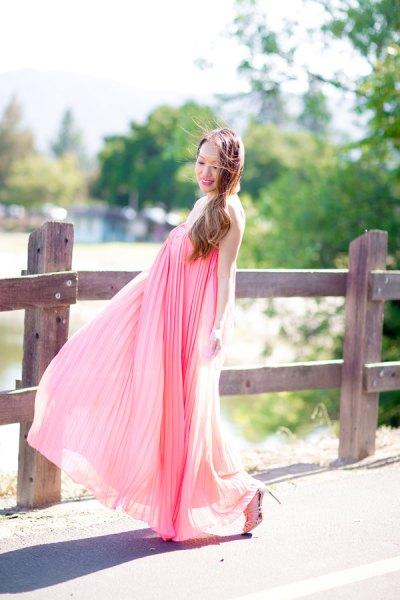 rodnad rosa maxi veckad flared klänning