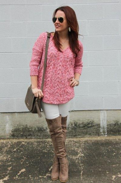rosa, grovmarmorerad stickad tröja med strumpor