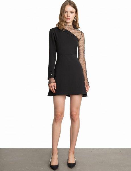 svart en-arm skater klänning mesh overlay