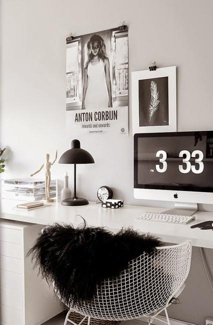 Svartvit dekorering, idéer för Desig för hemmakontor
