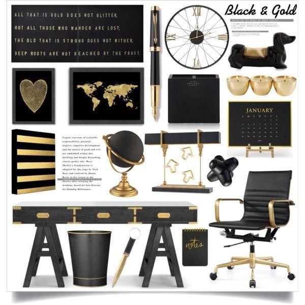 Kontorsdekorationer i svart och guld    Guld kontor dekor, svart guld kontor.