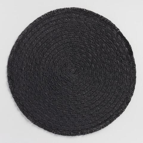 Runda svarta flätade plattor med fransar om 4 |  Världsmarknaden