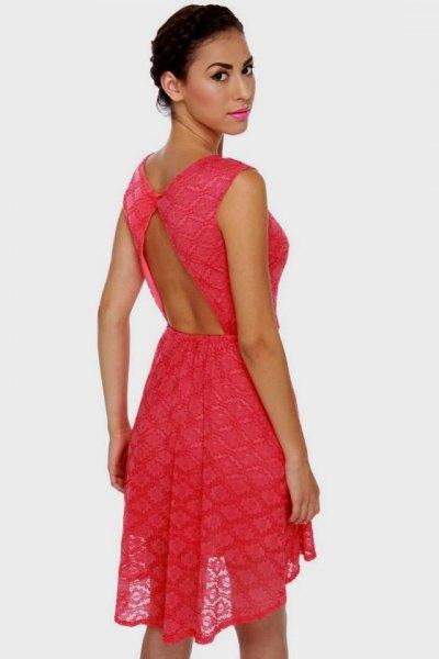 Carol Backless Mini Semi Sheer Fit och Flare Dress