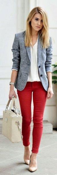 ljunggrå blazer röd skinny jeans