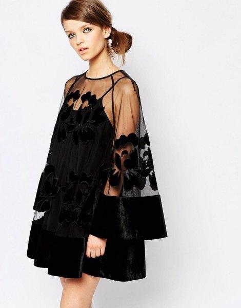 svart mini gungklänning ren overlay