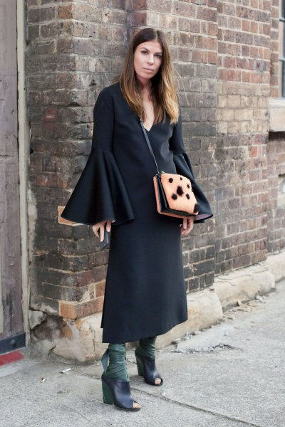 Maxi Bell Sleeves Sheath Dress Boots