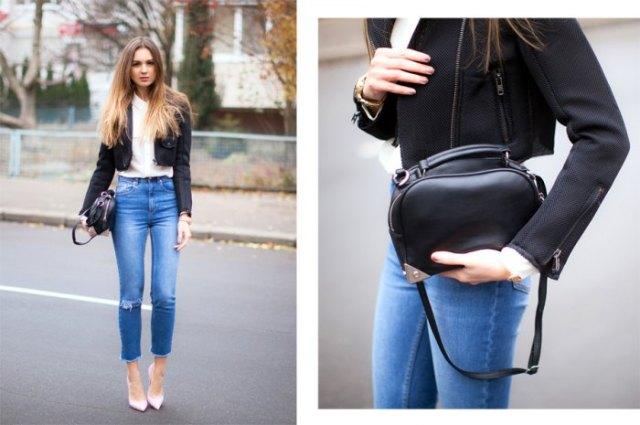 svart, beskuren kavaj med vit chiffongskjorta och blå jeans