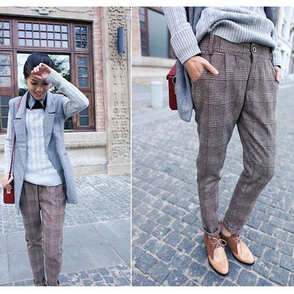 grå rutig tweed byxor ärmlös kavaj