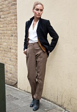 brun baggy tweed byxa överdimensionerad blazer