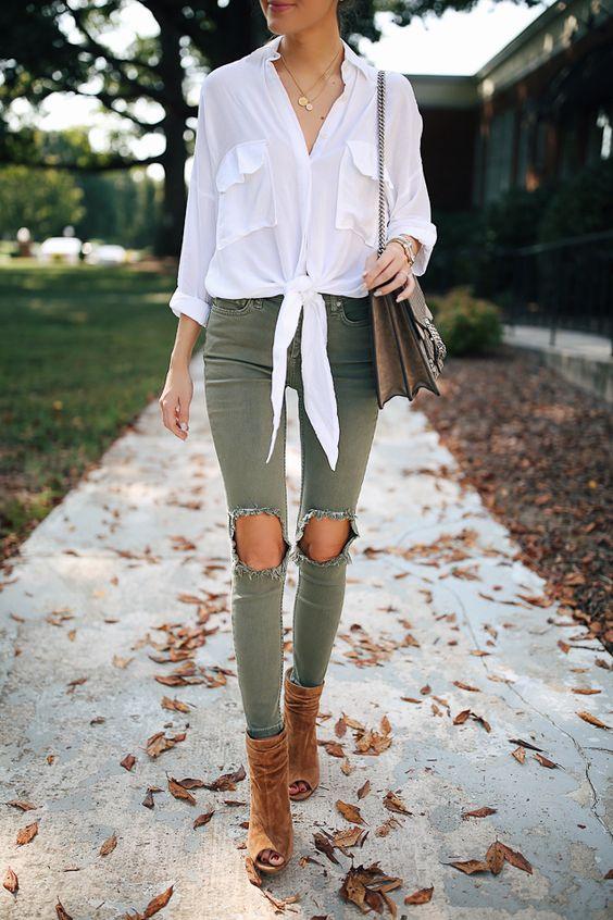 rippade gröna skinny jeans