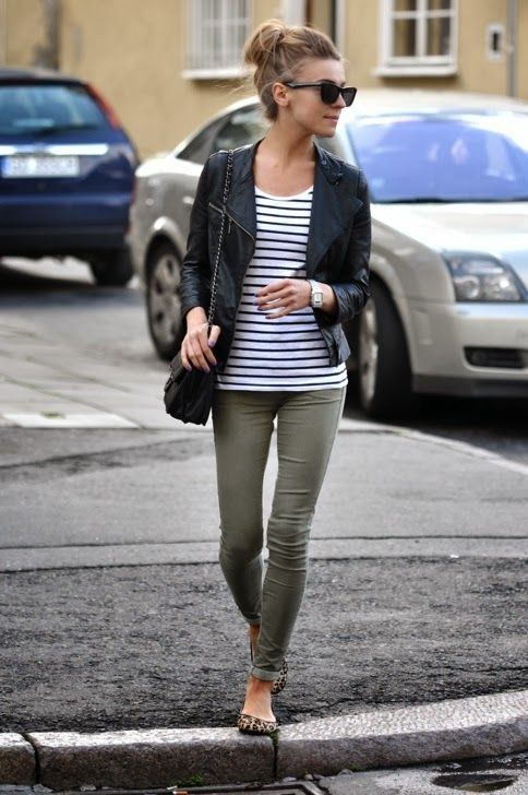 grön skinny jeans läderjacka