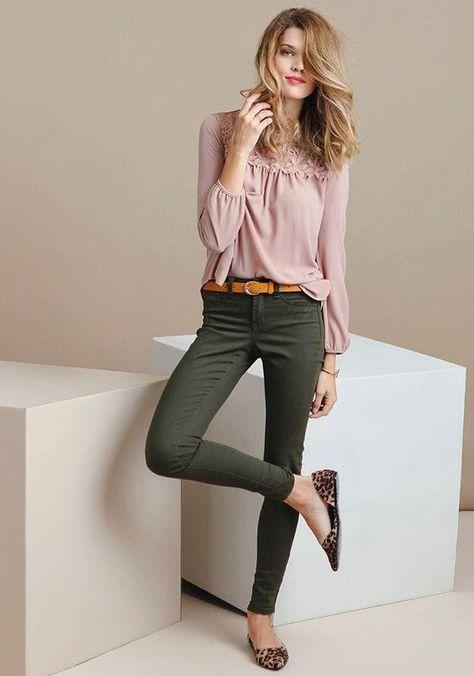 grön skinny jeans romantisk blus