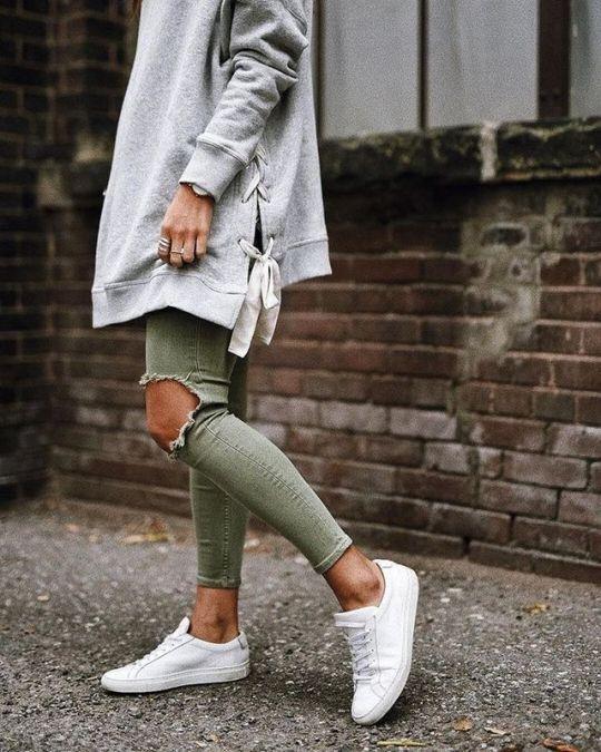 grön skinny jeans hoodie