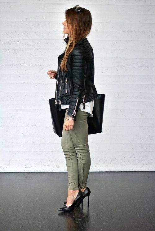 gröna skinny jeans höga klackar