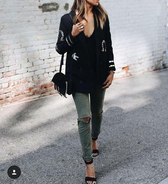 gröna skinny jeans svart