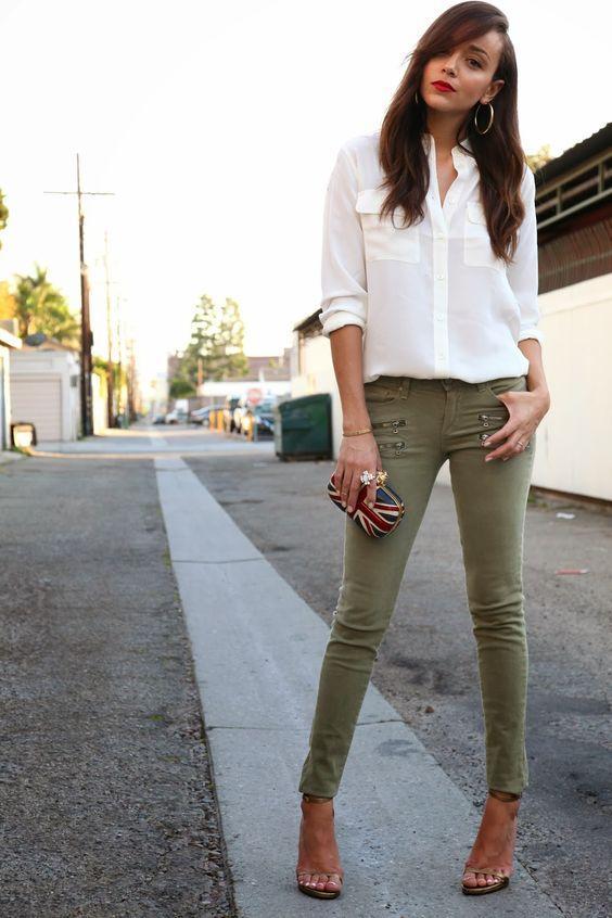 gröna skinny jeans neutrala