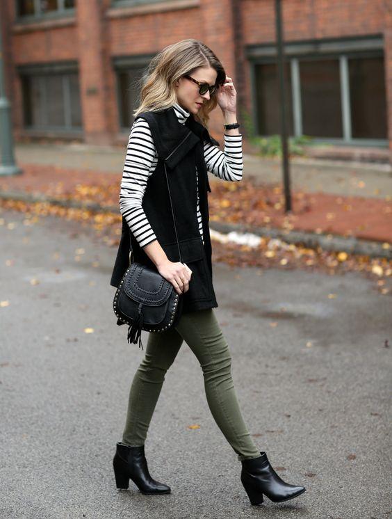 grön skinny jeansväst