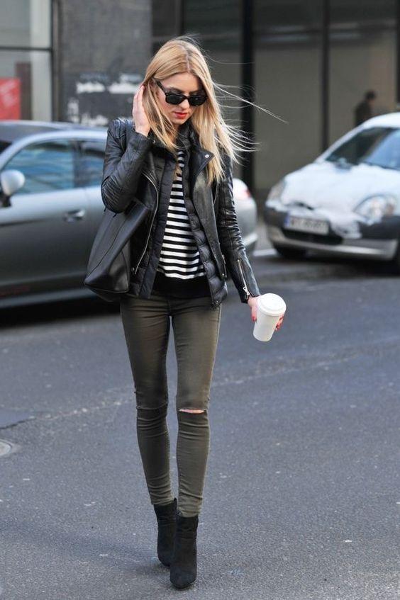 gröna skinny jeans två jackor