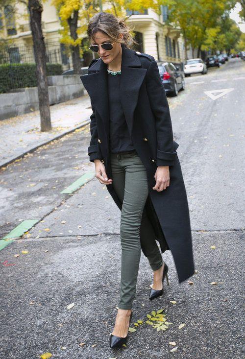 grön skinny jeans lång kappa