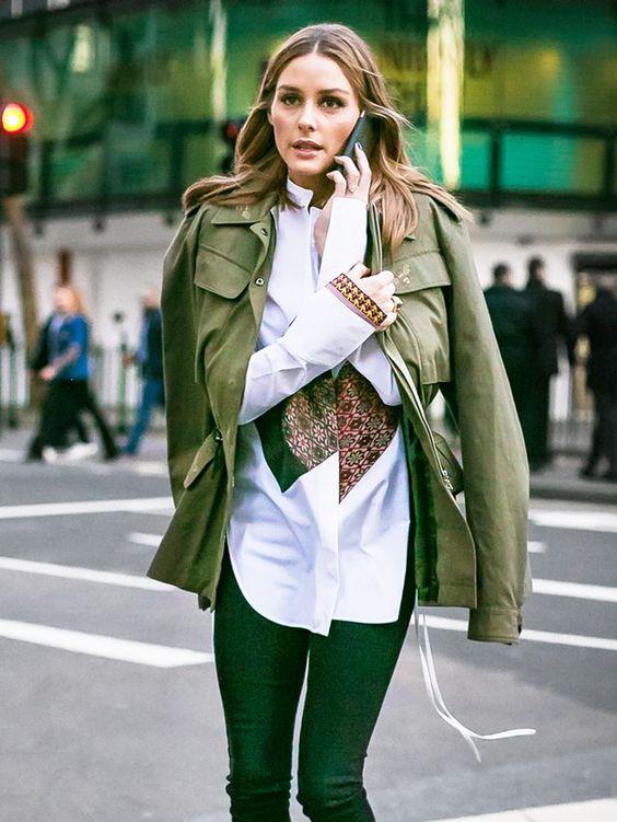 grön skinny jeans militärjacka